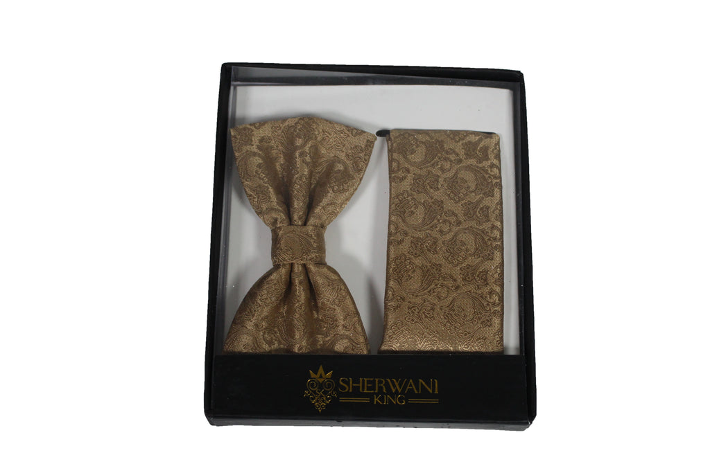 Gold Brocade Silk Bow Tie and Pocket Square Set