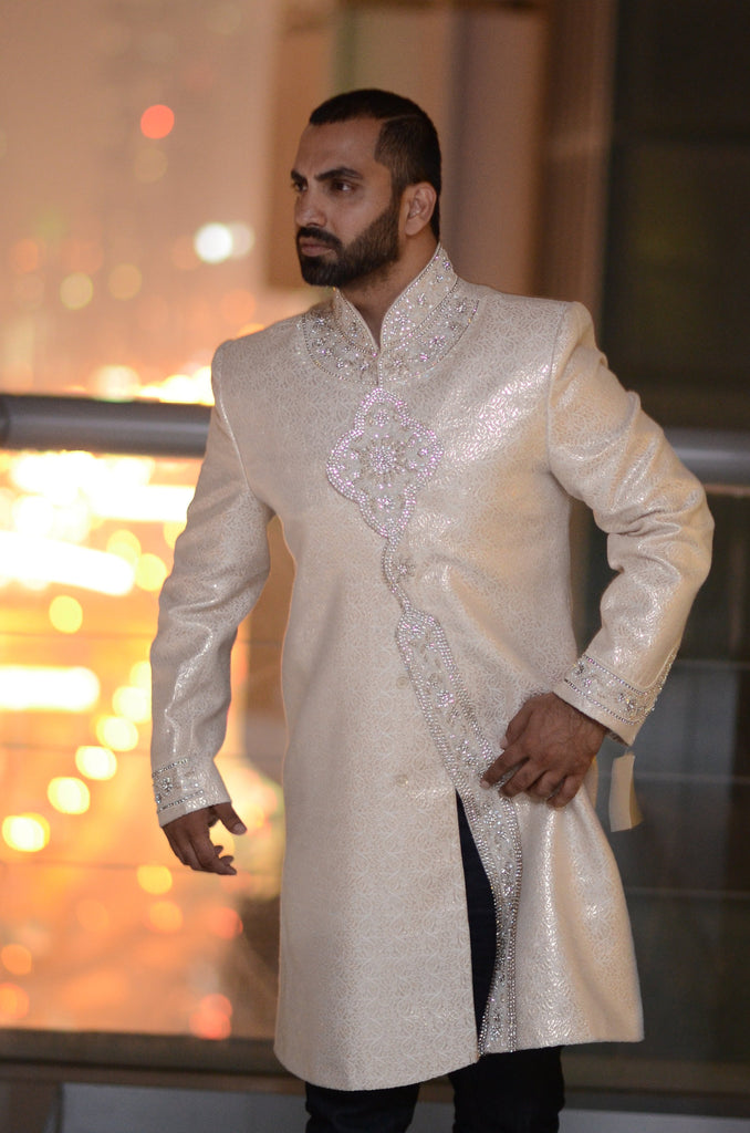 Gold Sherwani with Swarovski Embroidery