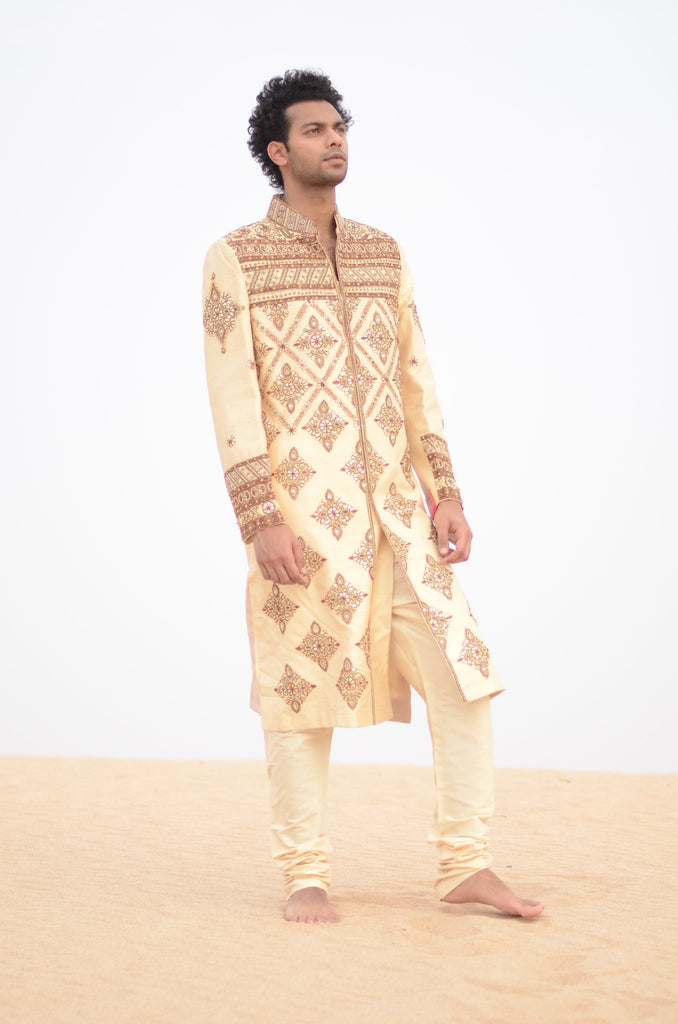 Gold Silk Sherwani with Heavy Embroidery