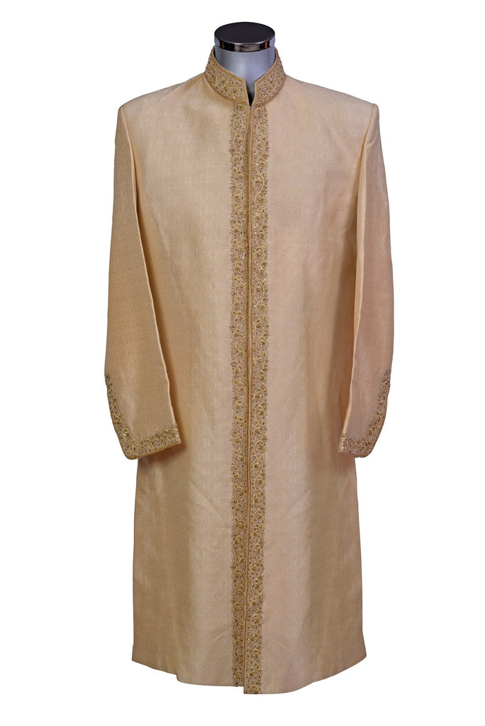 Umair - Gold Zardozi Sherwani in Raw Silk - Sherwani King - - 1