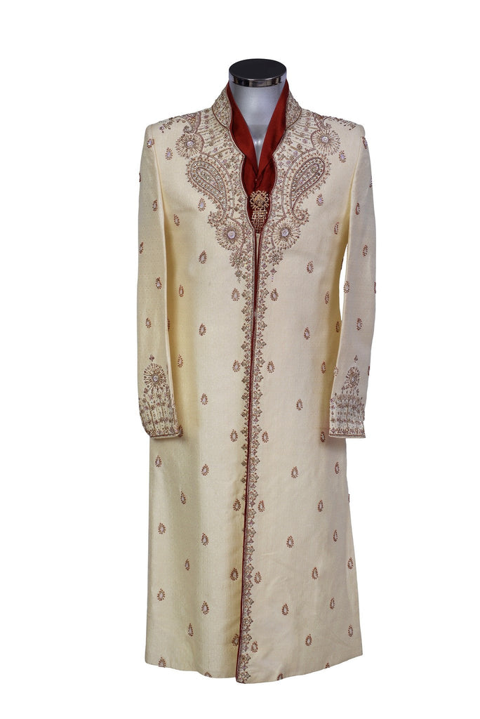 Ivor - White Silk Sherwani with Red Detail - Sherwani King - - 2