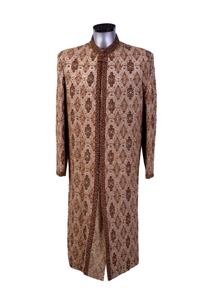 Ghulfran - Gold Sherwani with Diamond Embroidery - Sherwani King - - 1