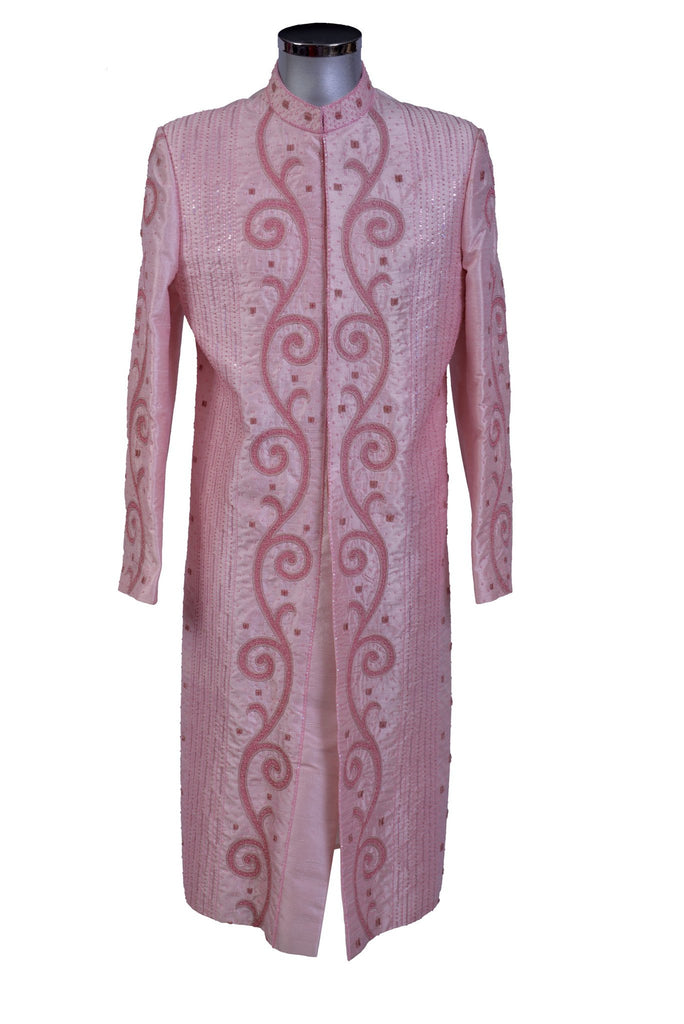 Khafiz - Light Pink Raw Silk Sherwani - Sherwani King - - 1
