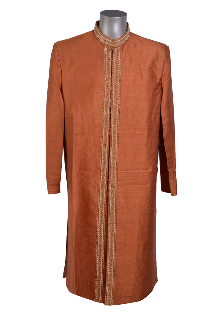 Ehsan - Orange Iridescent Raw Silk Sherwani - Sherwani King - - 1