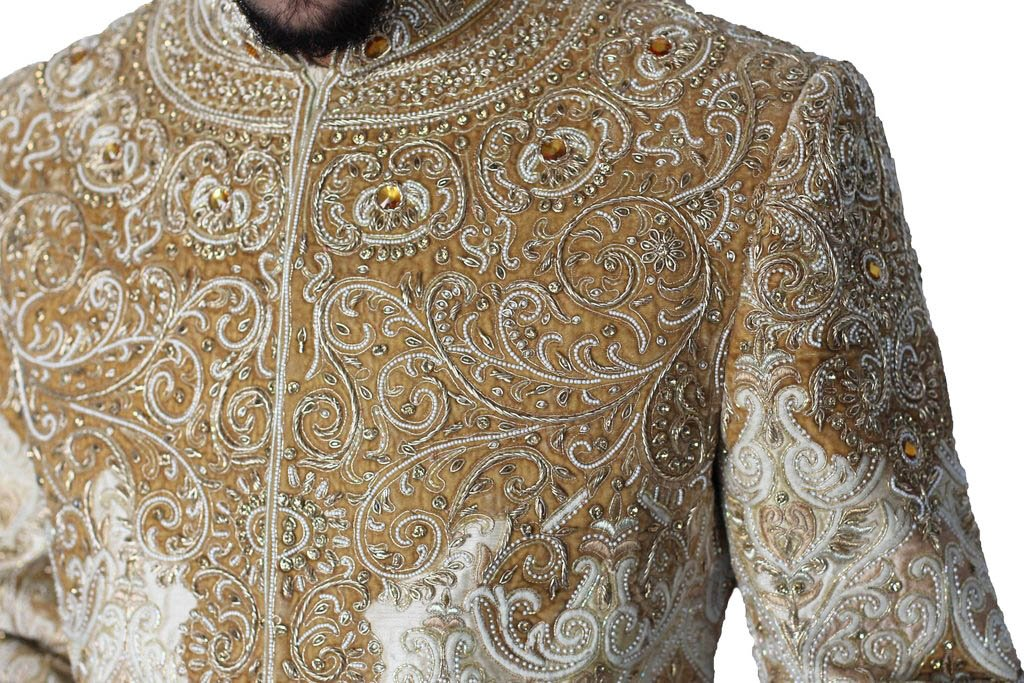 Ivory and Gold Sherwani with Zardozi handwork and Gemstone details