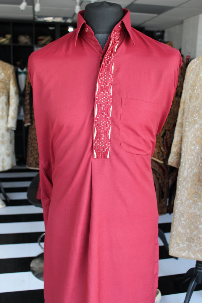 Red Cotton Salwar Kameez with Threadwork Detail