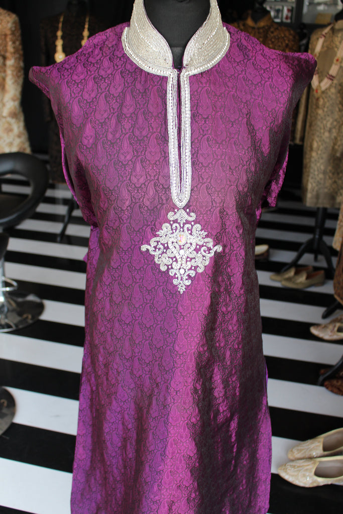 Purple Brocade Salwar Kameez with Gemstone Embellished Collar and Chest