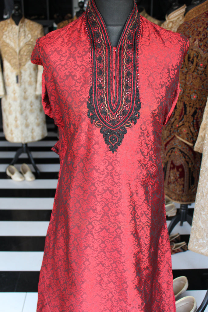 Red Brocade Kurta Sherwani with Collar and Chest Embroidery
