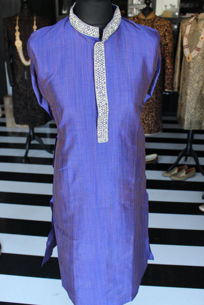 Blue Silk Salwar Kameez Sherwani with Collar and Chest Embellishment
