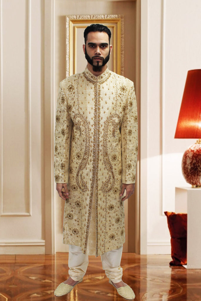 Gold Silk Sherwani with Pattern Embroidery