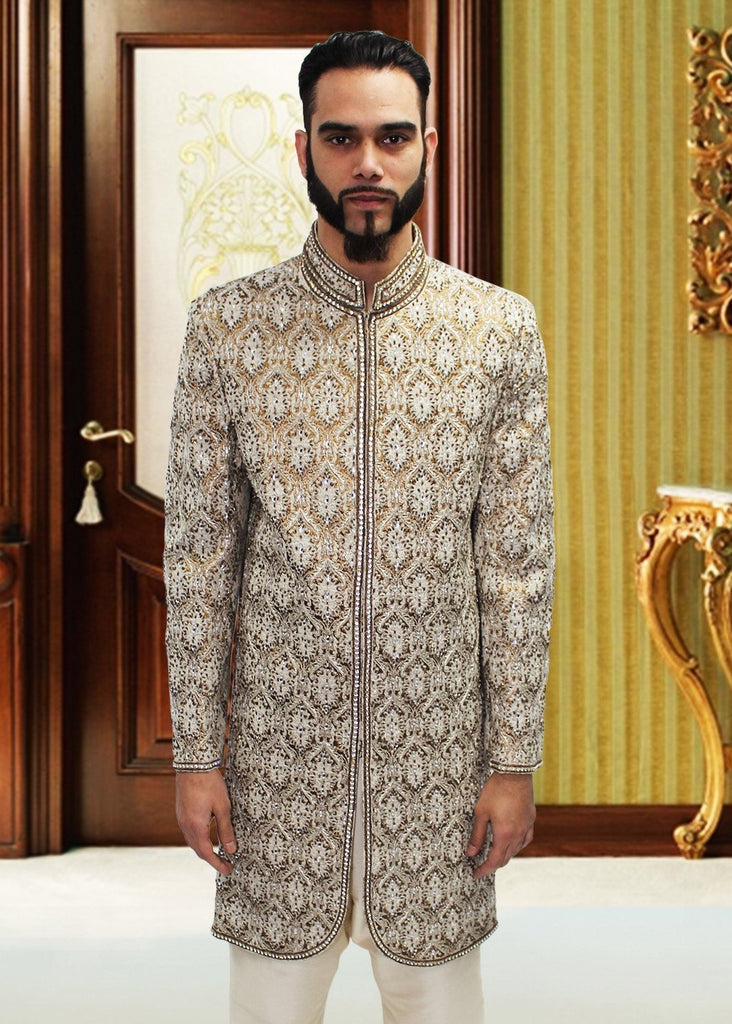 White & Bronze Sherwani with Swarovski Detail