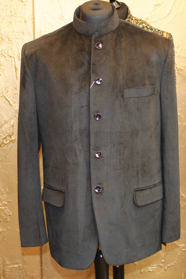 Black Velvet Jodhpuri Jacket with Perforated Blue Fabric