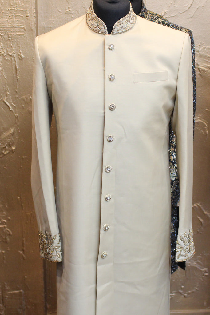 Beige Sherwani with Gold Buttons