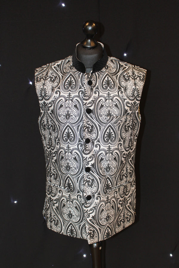 Black and Silver Brocade Multi-Patterned Indian Waistcoat