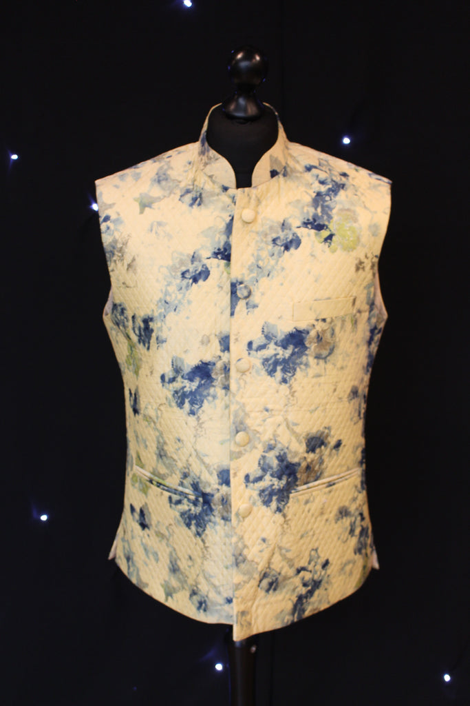 Yellow Quilted Indian Waistcoat with Artistic patterns