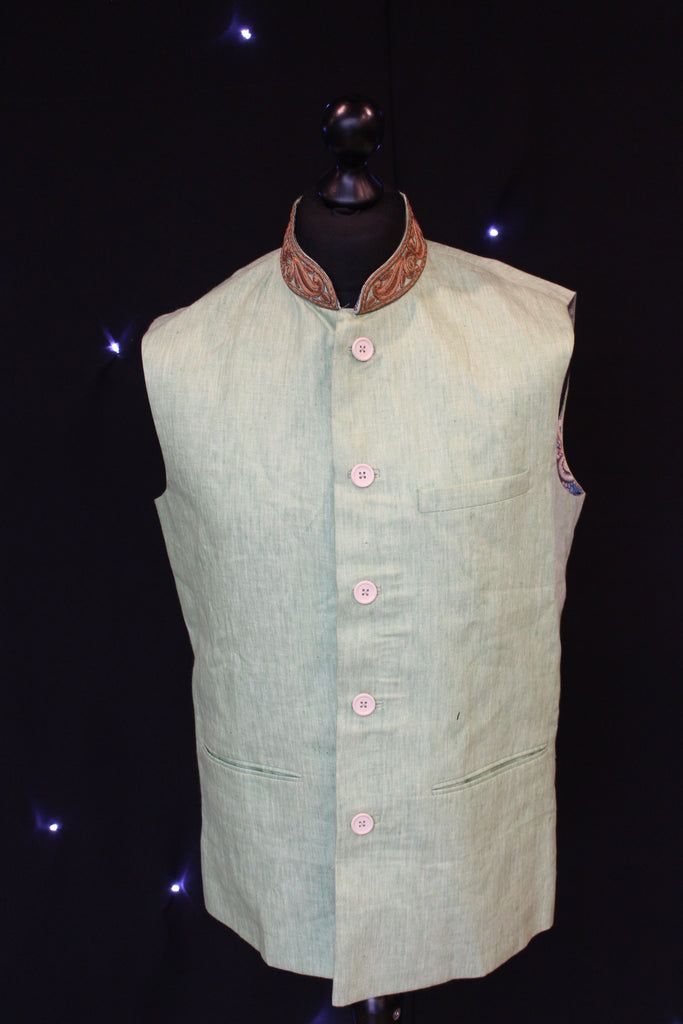 Green Indian Waistcoat with Psychedelic Interior Patterning
