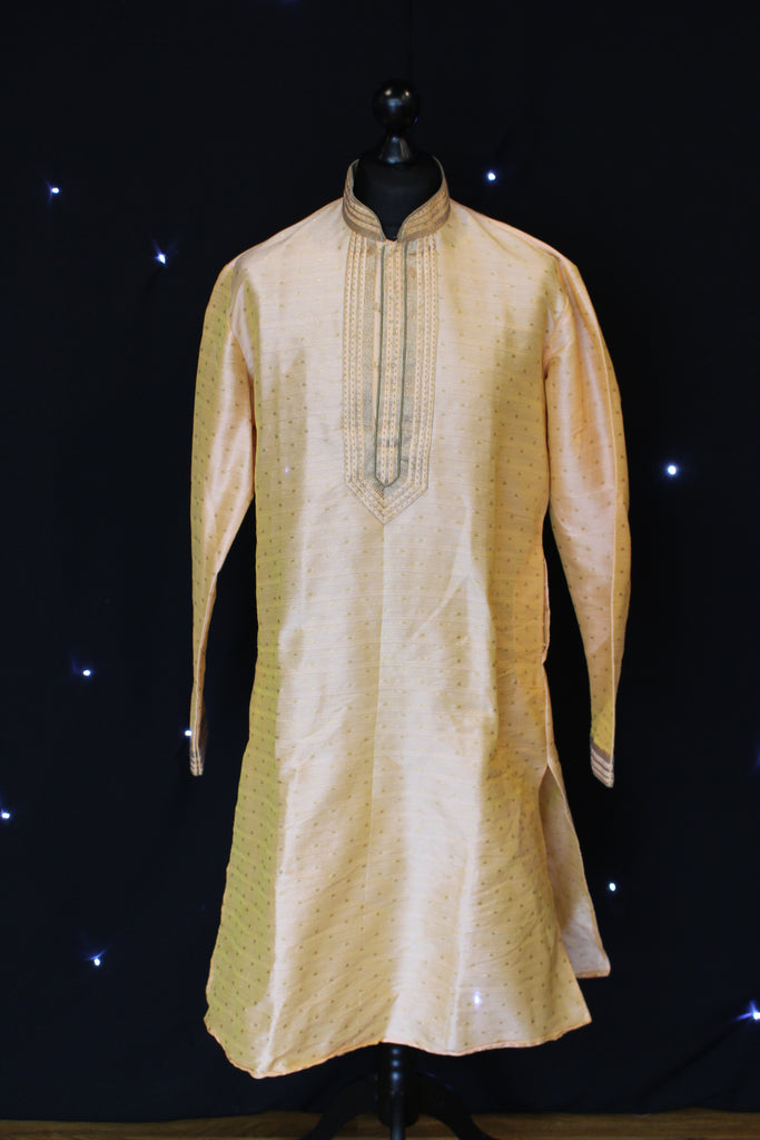 Peach Indian Kurta with Subtle Gold Details