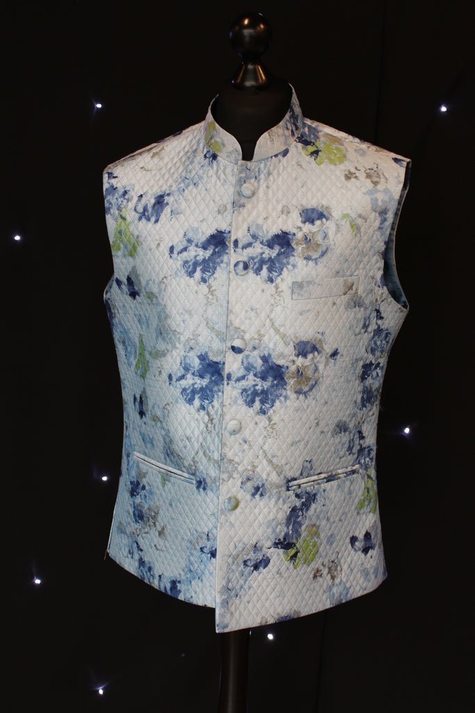 Sky Blue Indian Waistcoat with Artistic Pattern