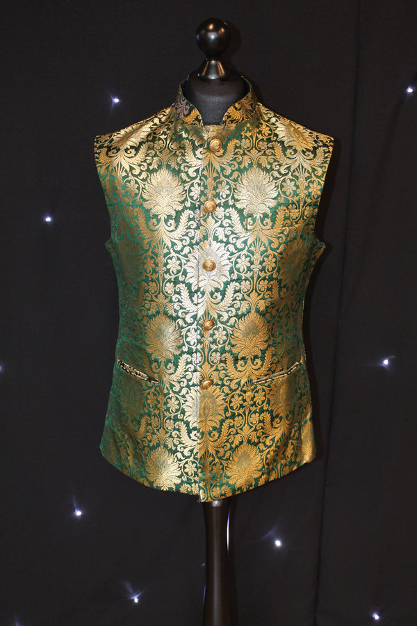 Brocade Indian Gold and Green Waistcoat
