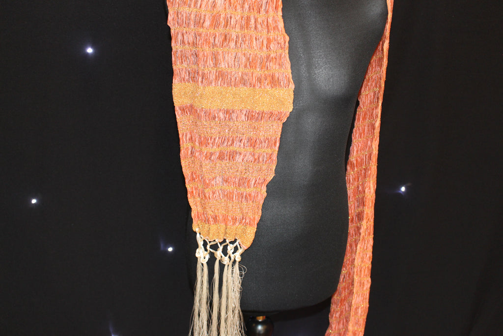 Peach Scarf with Gold Pattern