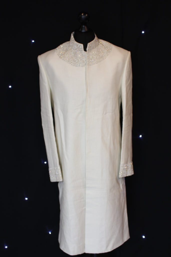 Off White Sherwani with Upper Silver Embroidery
