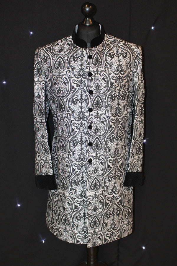 Silver and Black Brocade Sherwani