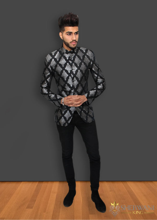 Black and Silver Brocade Jodhpuri Jacket