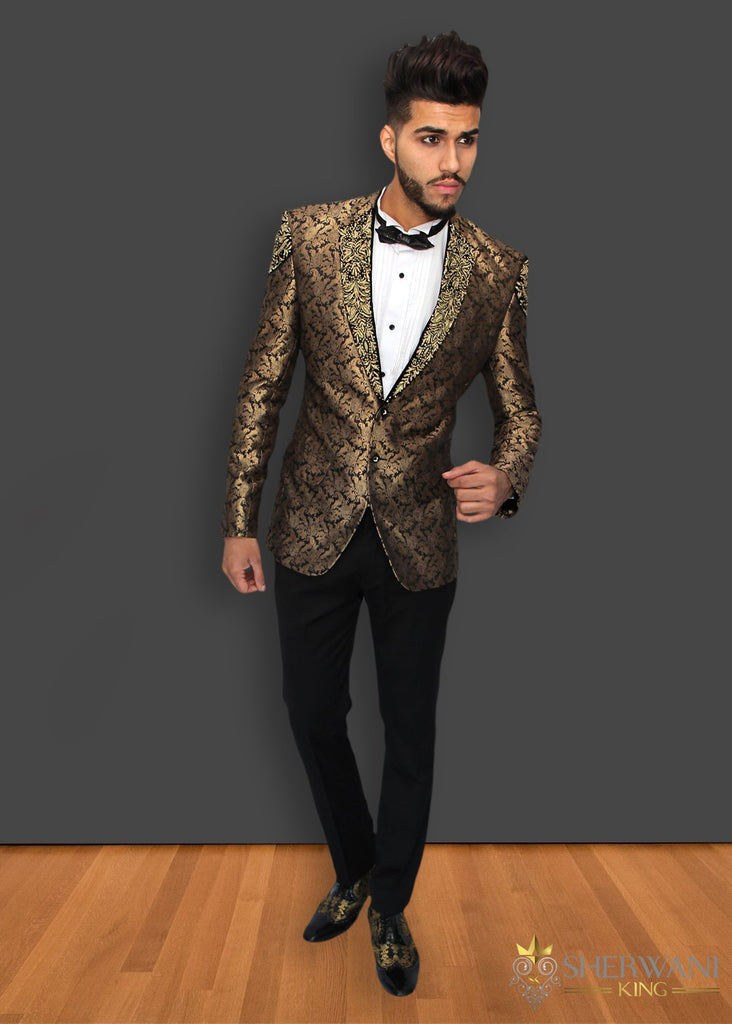 Black and Gold Brocade Embroidered Blazer