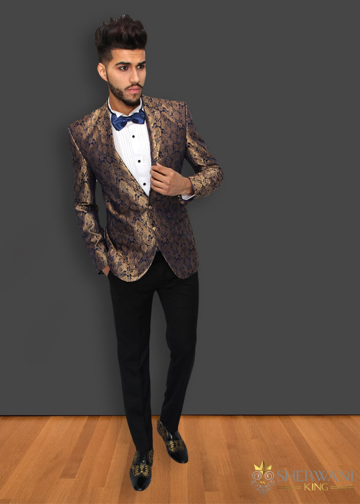 Gold and Royal Blue Brocade Blazer