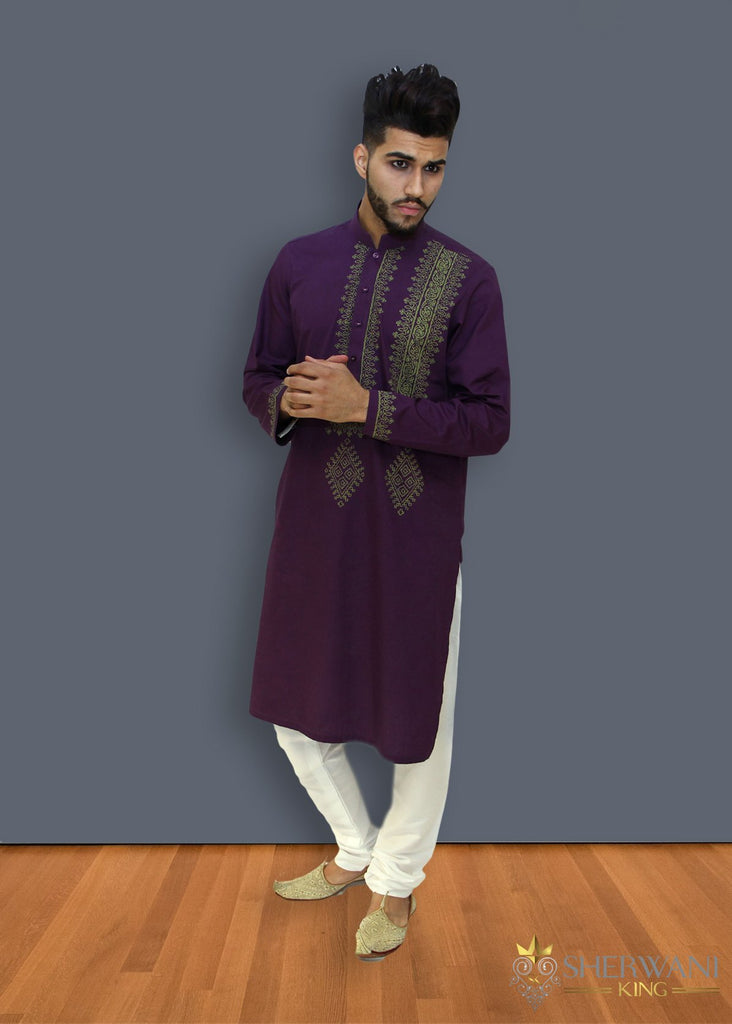 Purple Kurta Chest Pattern Bollywood Indian Mens Suit