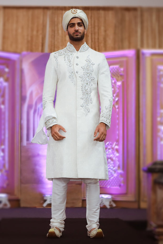 White Sherwani with Silver Vine Crystal Embroidery