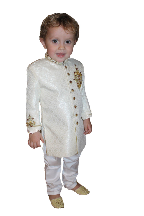 Boys Silk Sherwani in White
