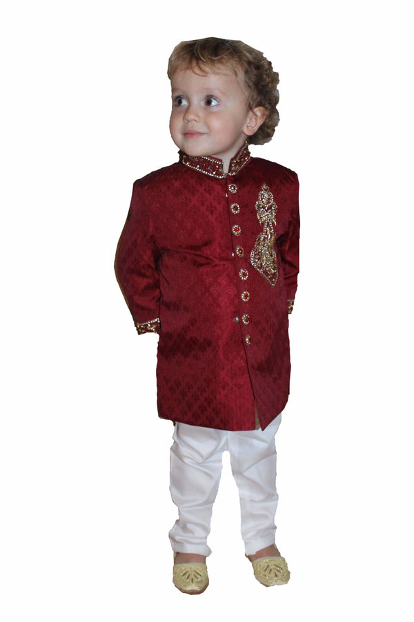 Boys Silk Sherwani in Red