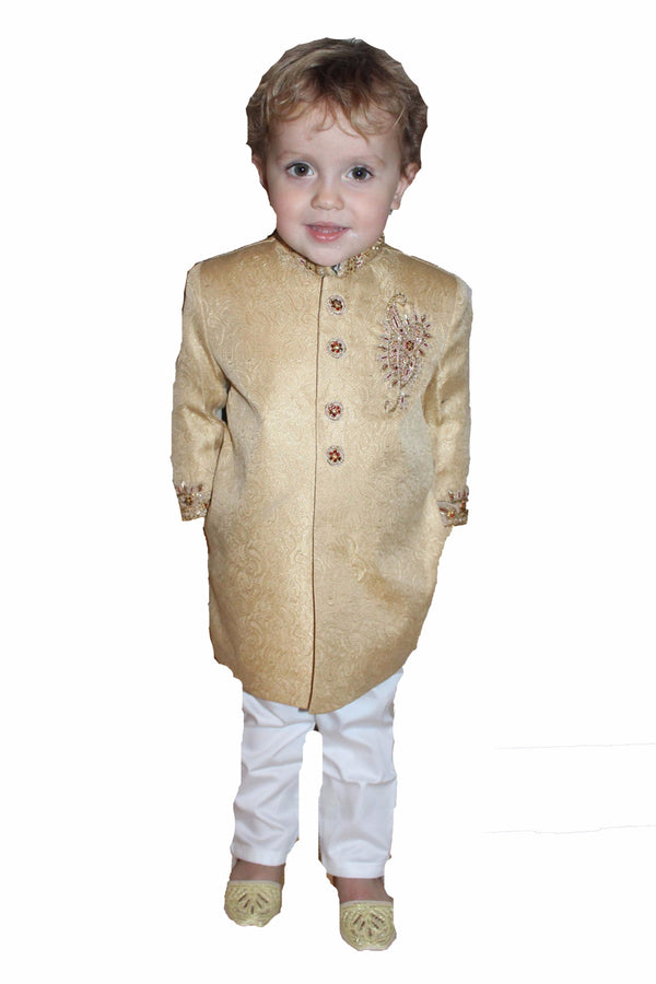 Boys Silk Sherwani in Gold 2