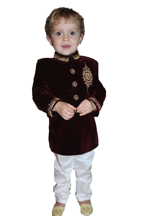 Boys Velvet Sherwani in Maroon Kids Indian Jacket