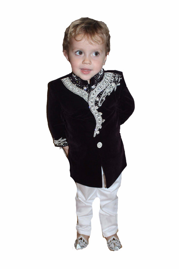 Boys Velvet Sherwani in Plum 2