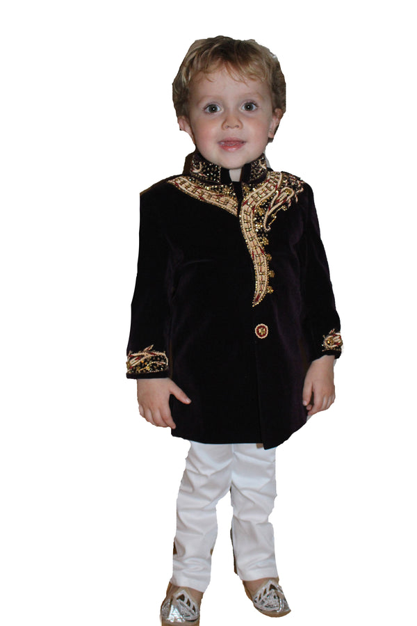 Boys Velvet Sherwani in Plum