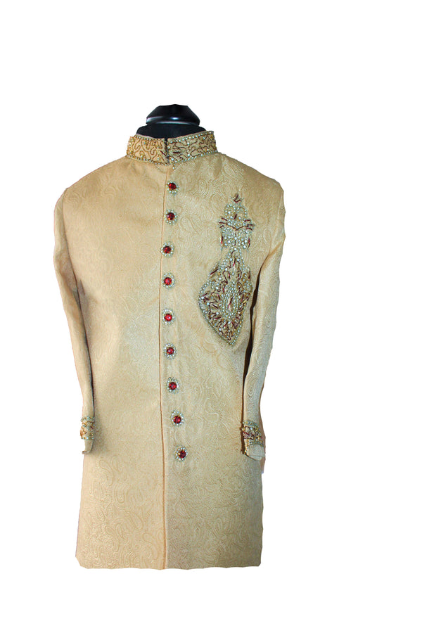 Boys Silk Sherwani in Gold