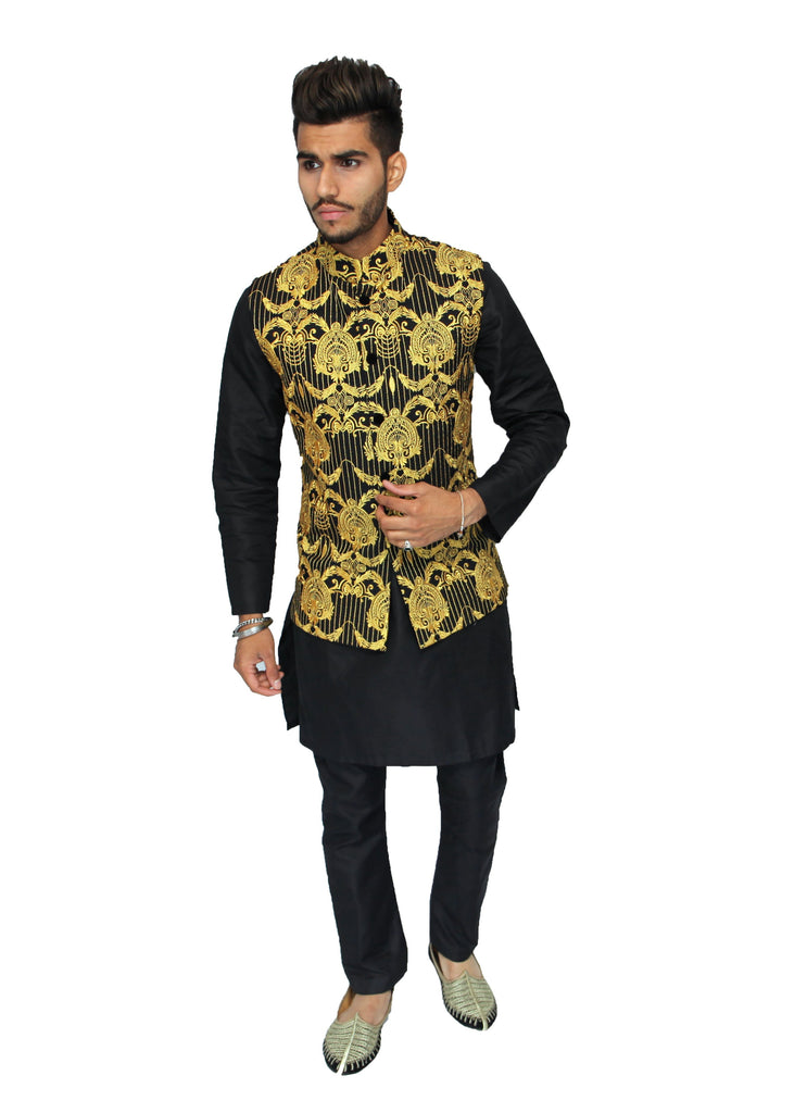 Black and Gold Embroidered Waistcoat with Gold Stripe