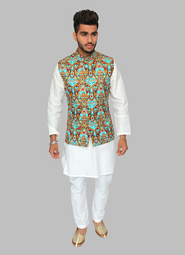 Teal Embroidered Waistcoat with Yellow and Red Embroidery