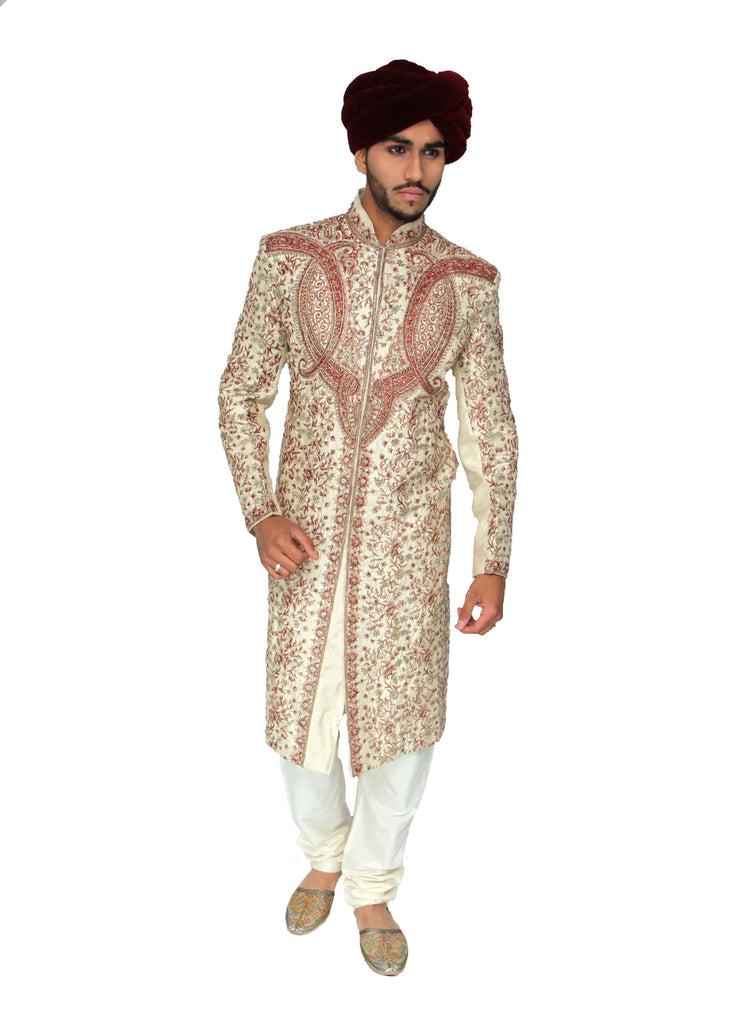 Gold Sherwani with Full Swirl Red Embroidery