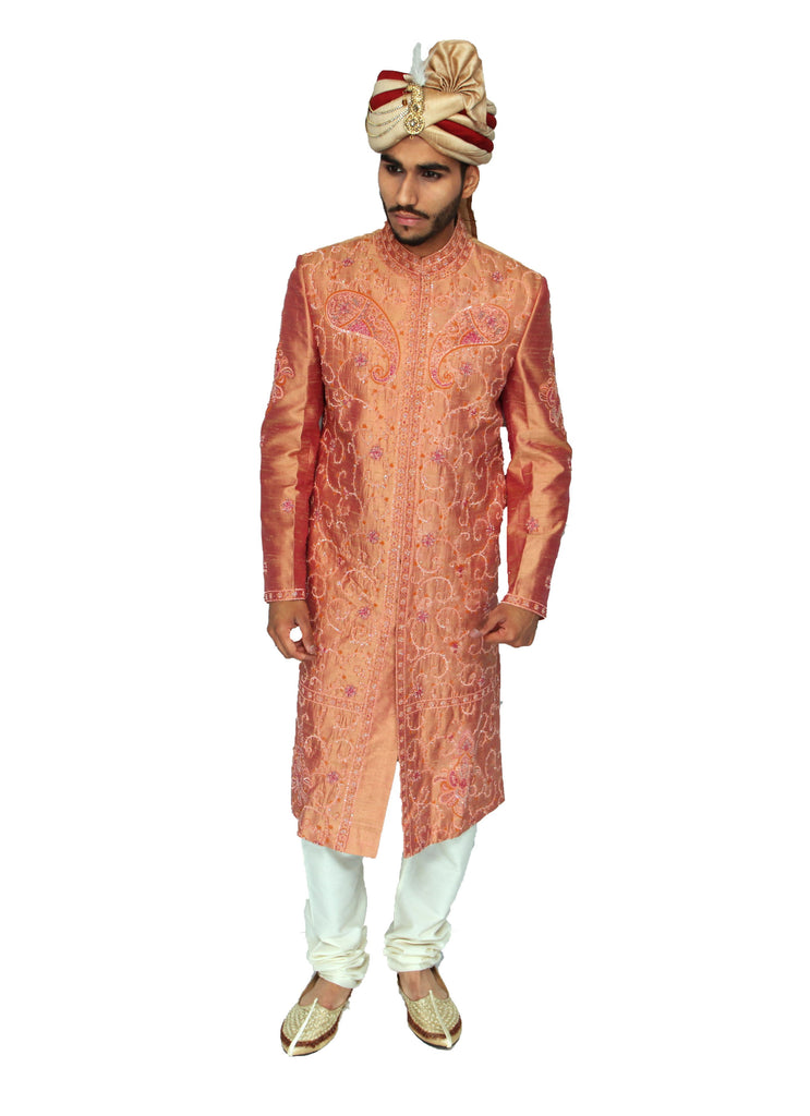 Orange Embroidered Raw Silk Indian Sherwani