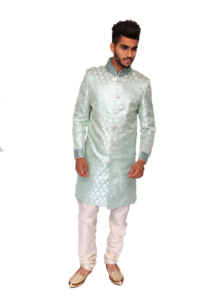 Lime Sherwani in Brocade Silk and Zari Collar