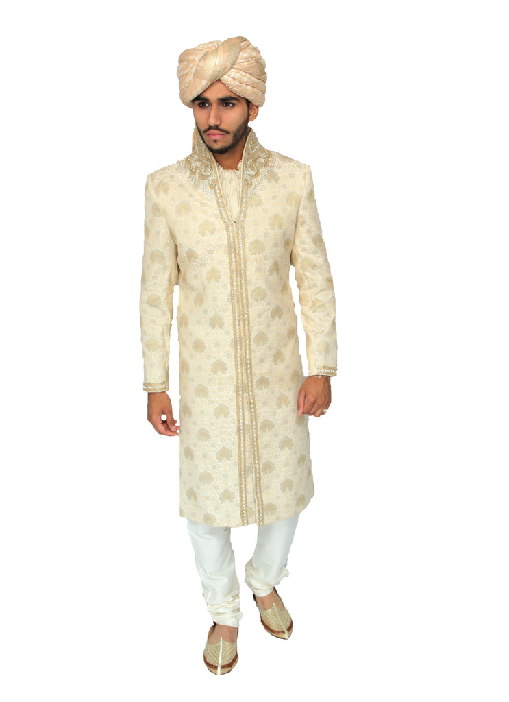 Gold Brocade Silk Sherwani with Light Embroidery