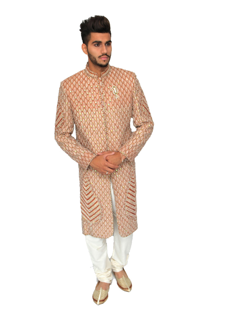Dark Gold Full Embroidered Sherwani