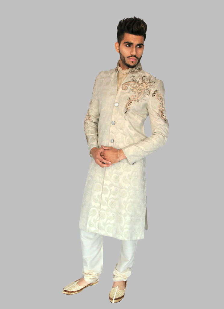 White Brocade Sherwani with Shoulder Embroidery