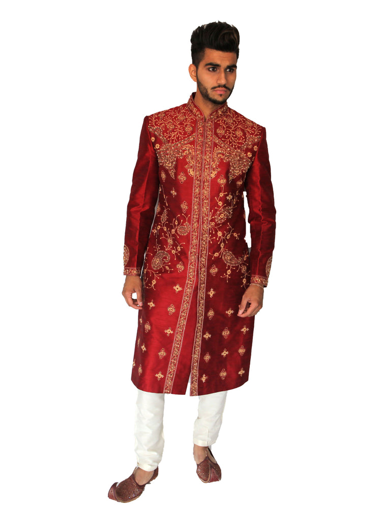 Red Silk Sherwani with Gold threaded Embroidery