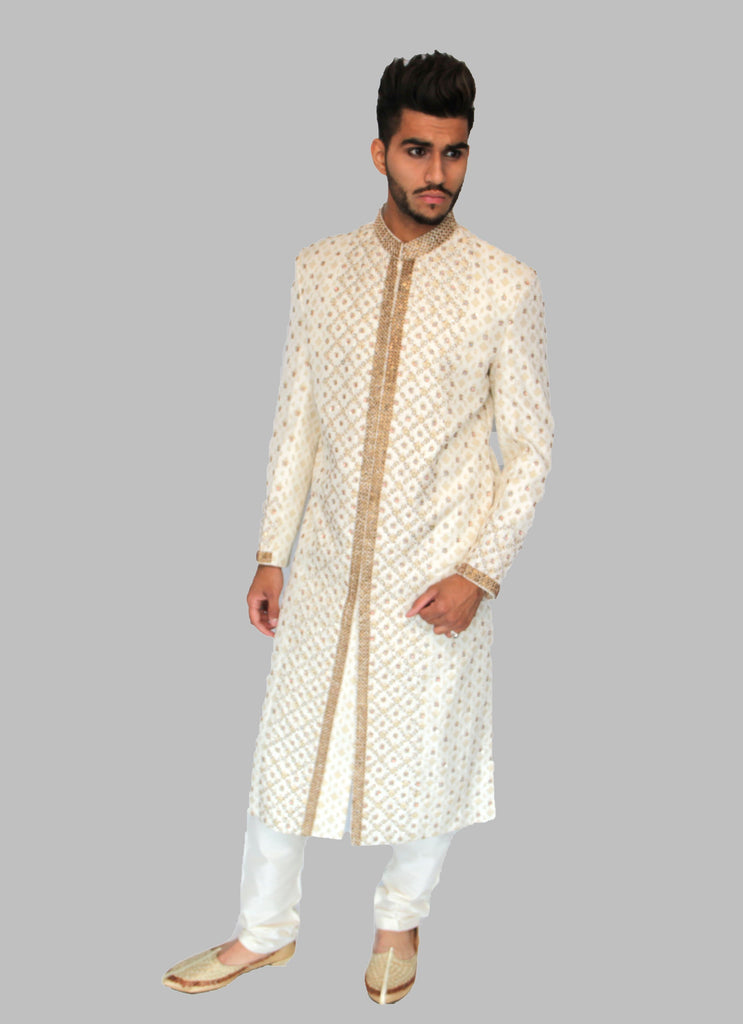 Cream Pattern Embroidered Sherwani