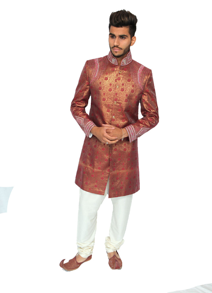 Rouge Gold Sherwani with Diamante