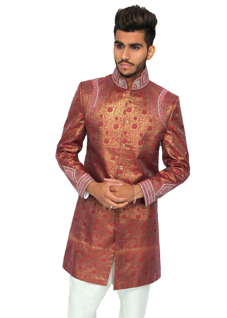 Rouge Red Gold Sherwani with Diamante